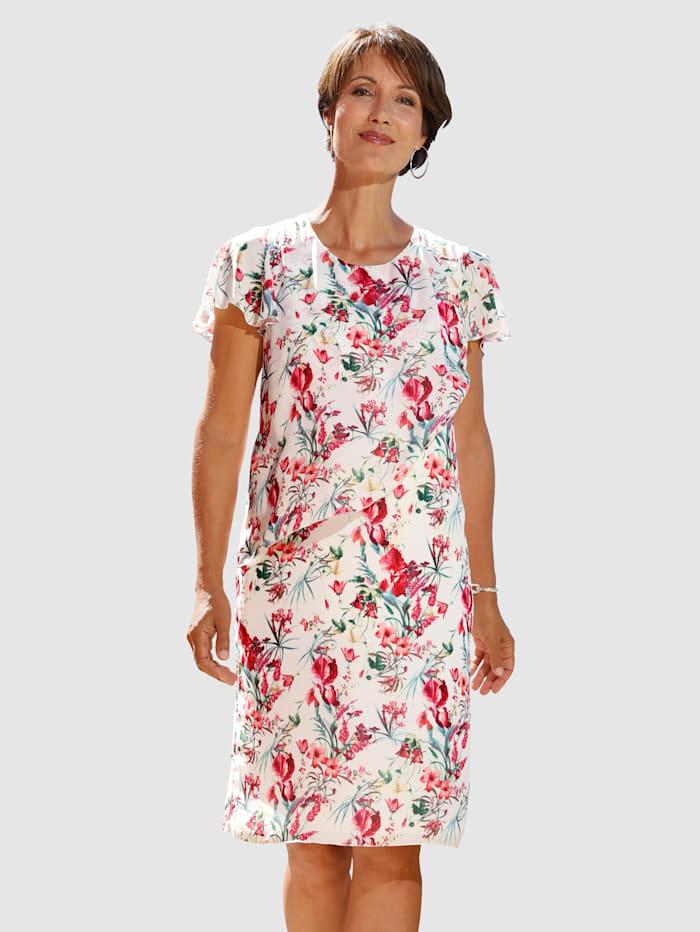 Paola Kleid mit Blumendruck, Weiß