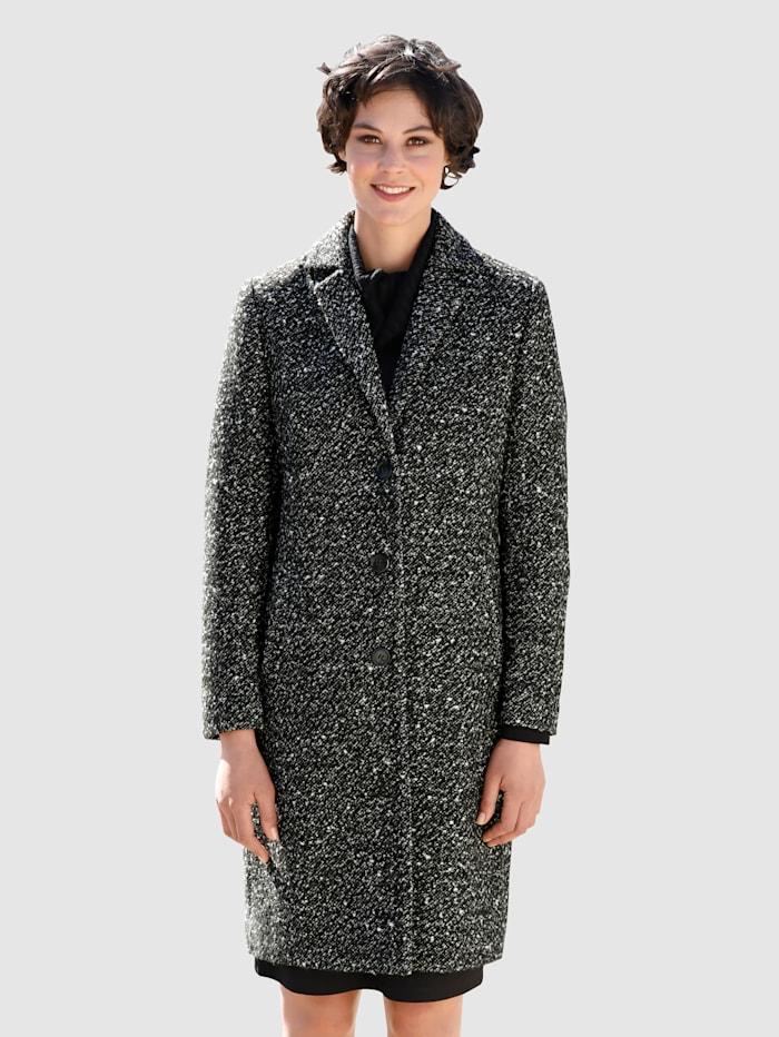 Dress In Manteau en laine mélangée au bel aspect poivre et sel, Noir