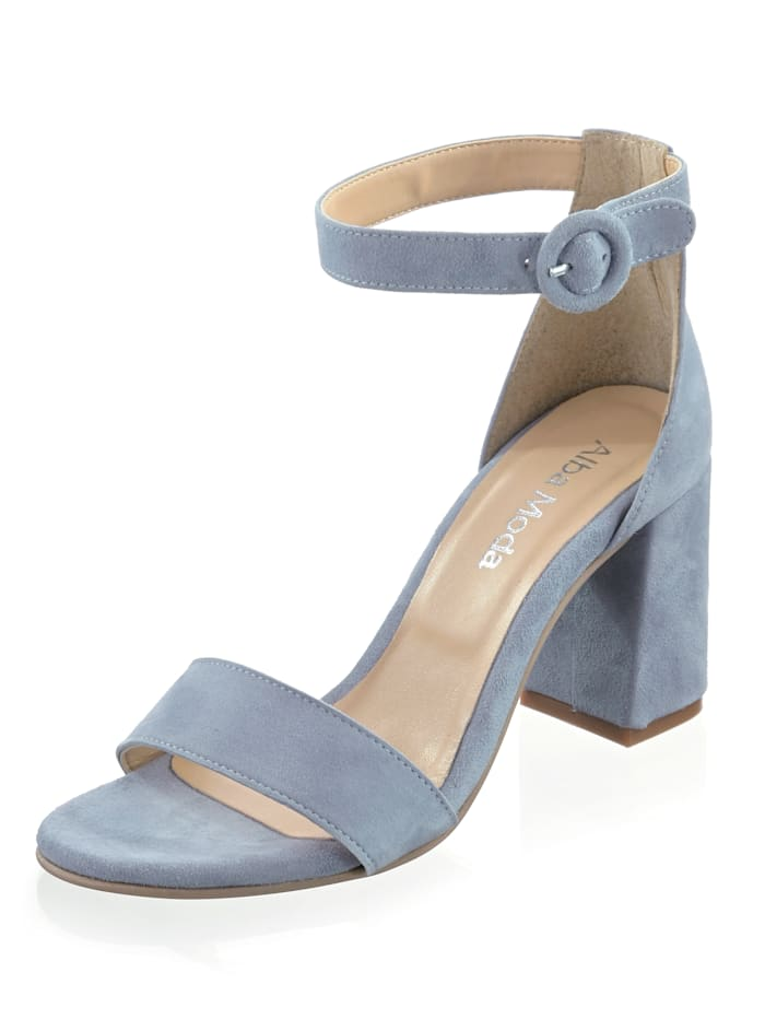 Alba Moda Sandalette aus hochwertigem Veloursleder, Rauchblau