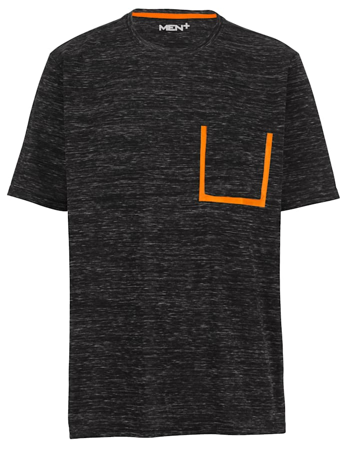 Men Plus T-Shirt schnelltrocknend, Grau/Neonorange