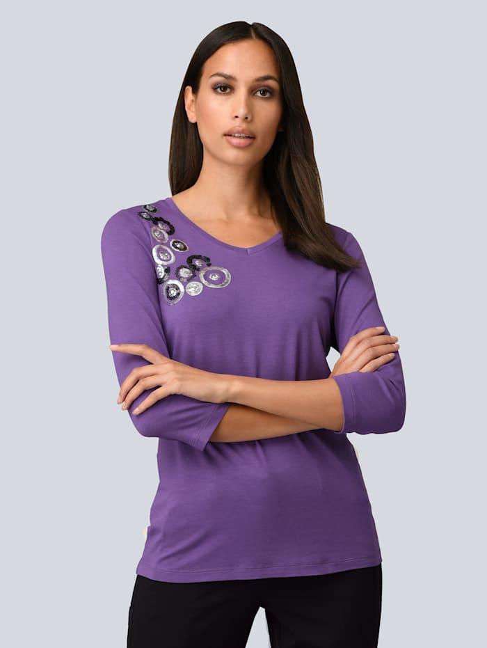 Alba Moda Shirt mit Pailletten-Applikation im Vorderteil, Lila