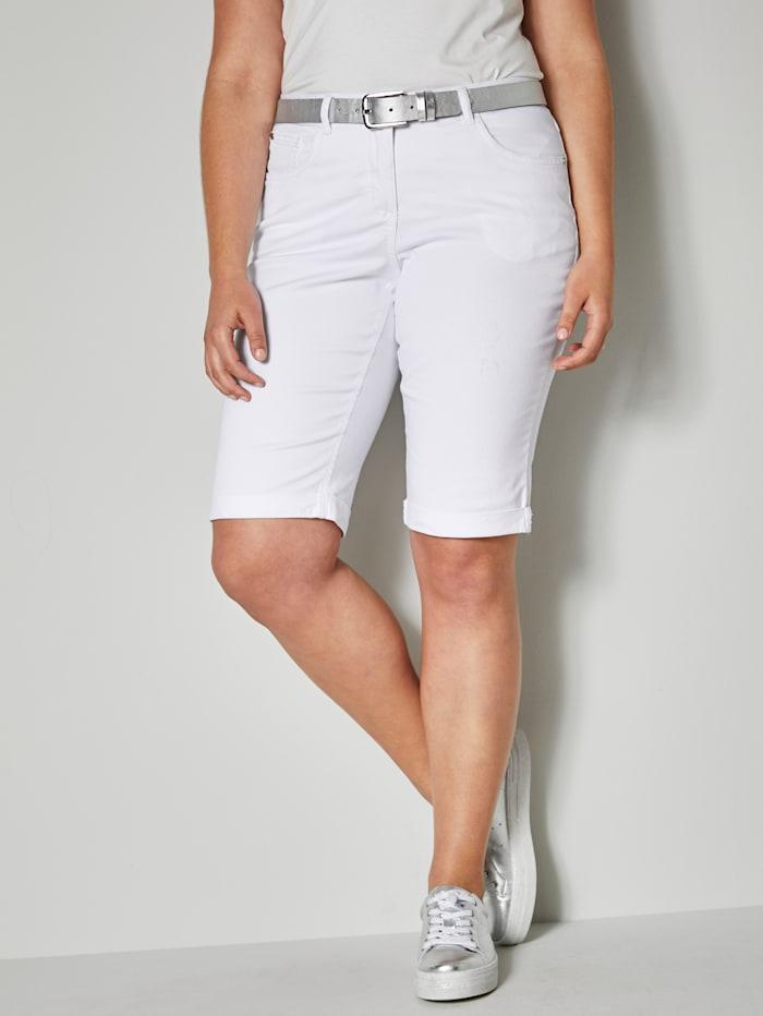 Angel of Style Jeans-Shorts mit Umschlag, Weiß