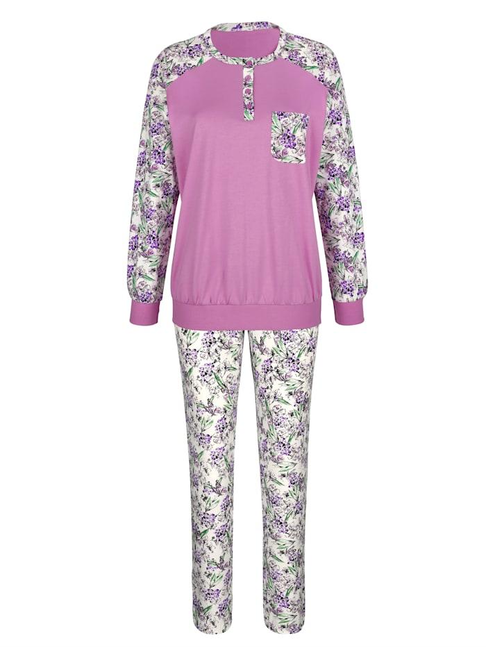 Harmony Pyjama met gedessineerde raglanmouwen, Fuchsia/Wit/Groen