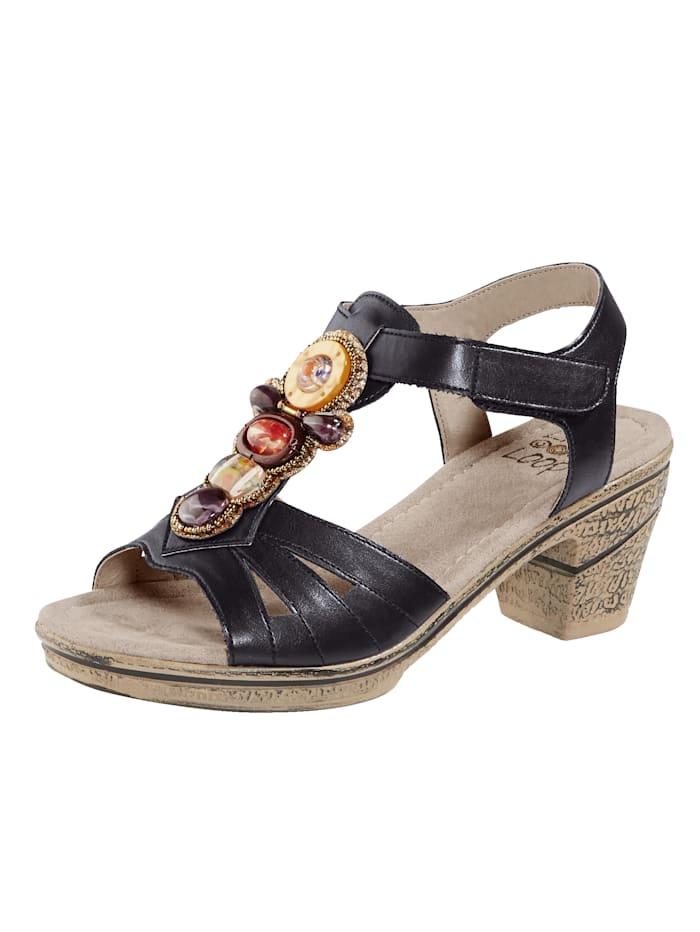 Liva Loop Sandaler med dekorerad ovansida, Svart