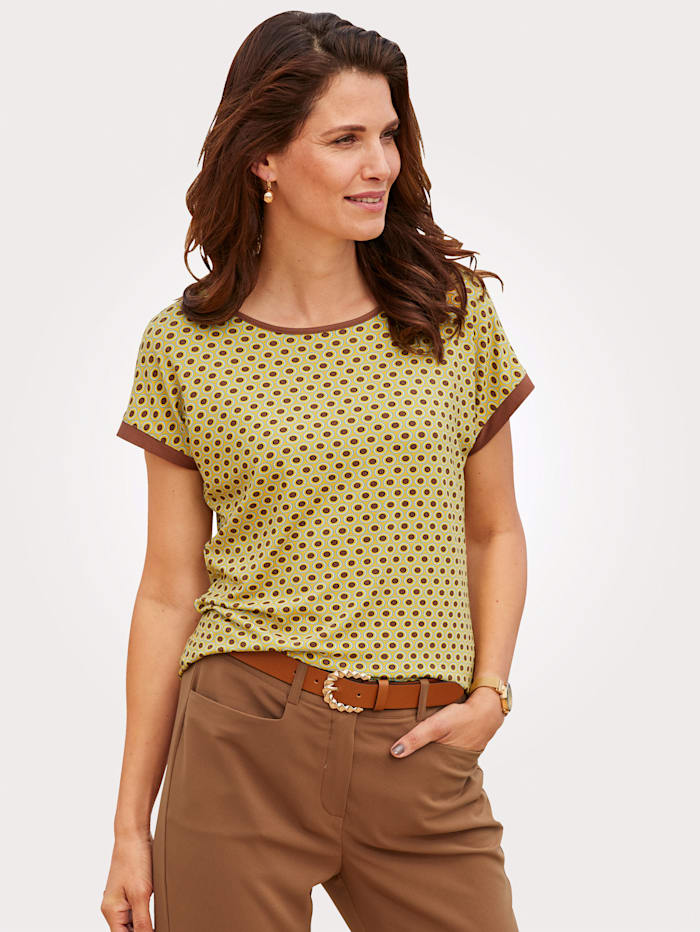 MONA Shirt mit grafischem Minimal Druck, Gelb/Cognac