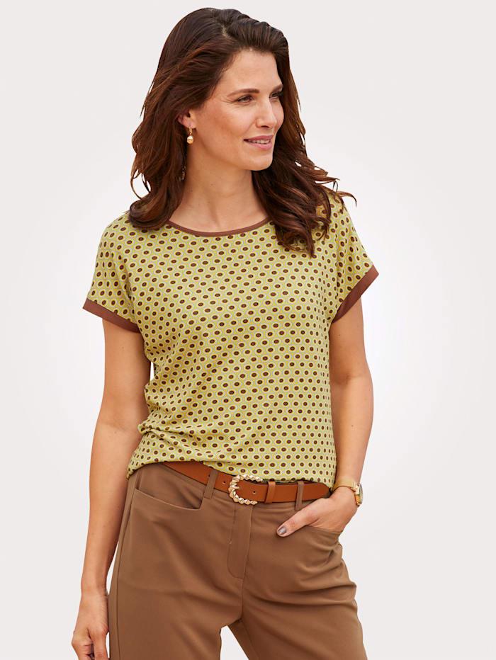 MONA T-shirt à imprimé graphique minimaliste, Jaune/Cognac