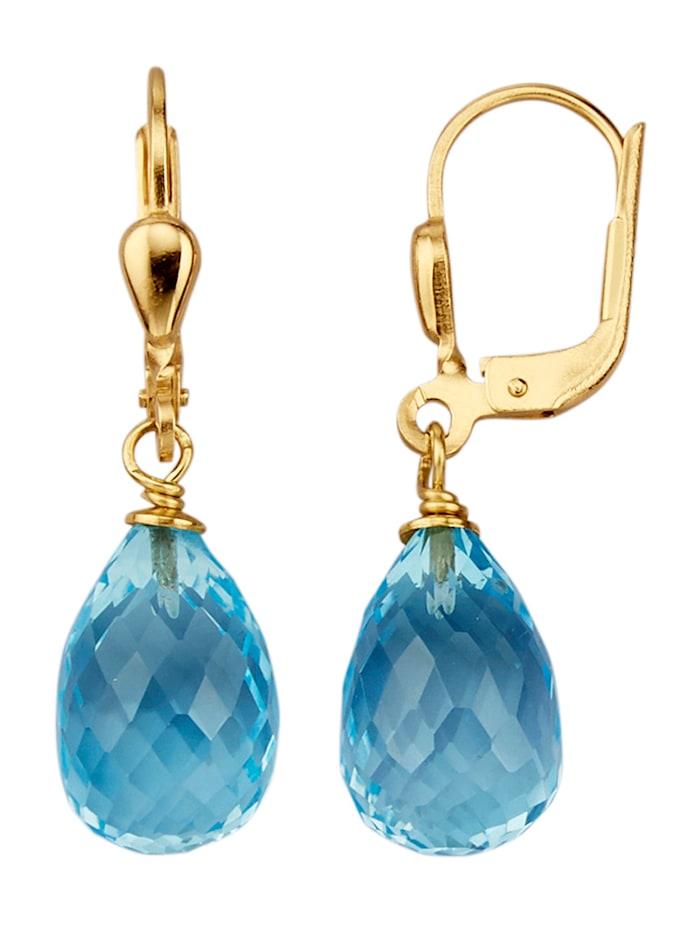 Amara Farbstein Ohrringe mit Blautopas-Tropfen, Blau