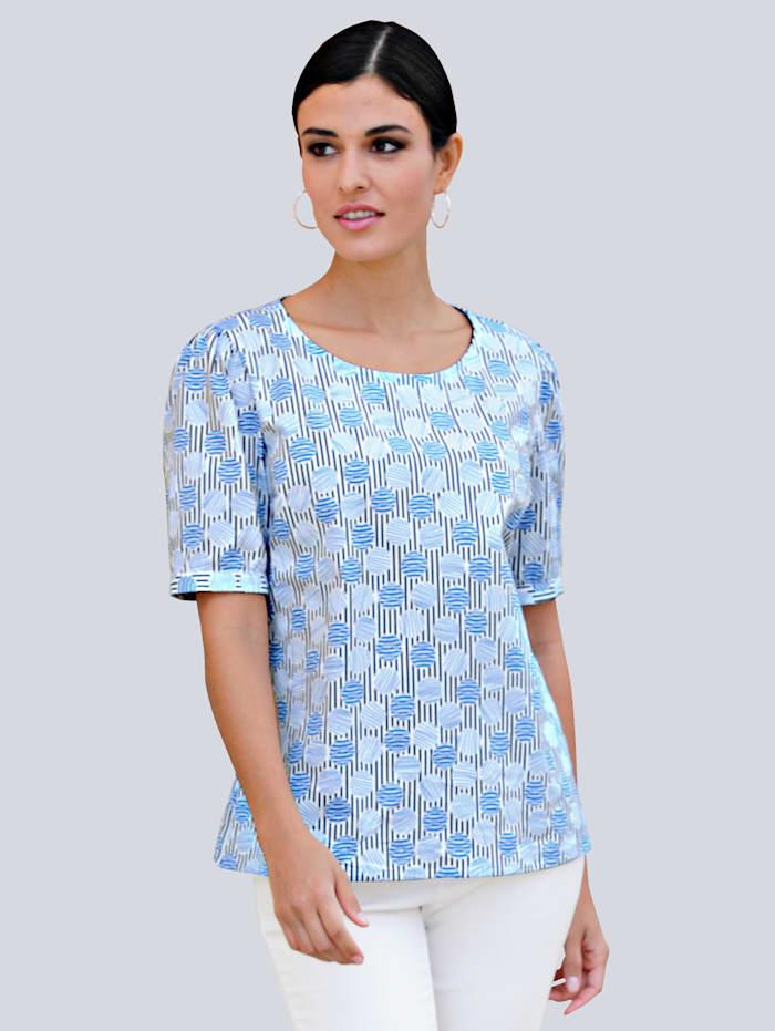 Alba Moda Blouse met mooie print rondom, Wit/Blauw