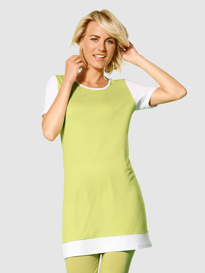 Dress In Longshirt mit Kontrastfarben, Hellgrün