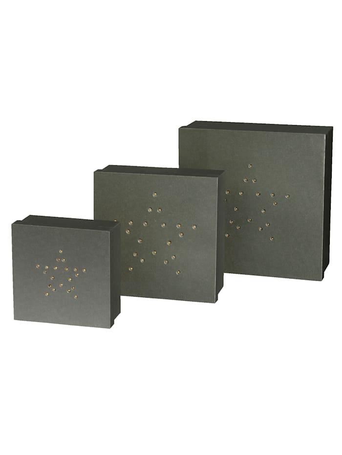 Creativ Deco LED Stern-Geschenkbox 3teilig, Grau