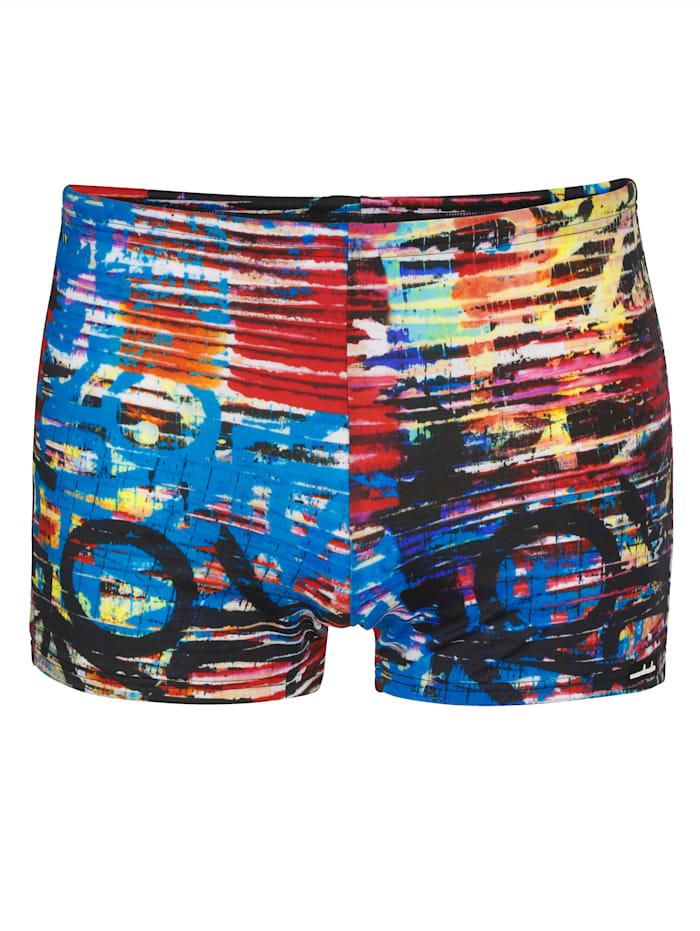 Wavebreaker Zwembroek met multicolor print, Blauw/Rood/Wit/Zwart