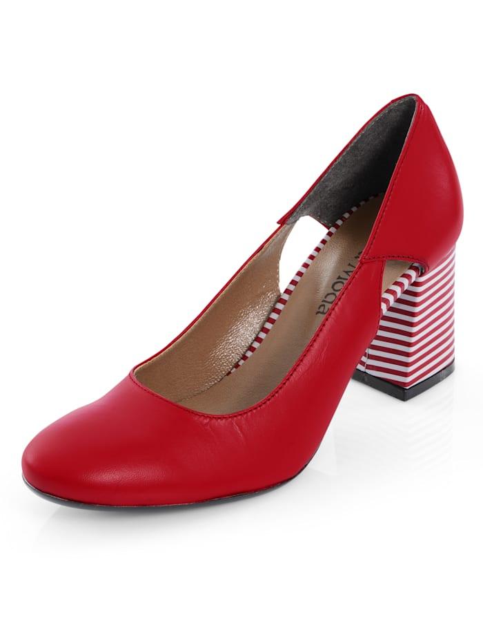 Alba Moda Pumps mit Streifendessin, Rot