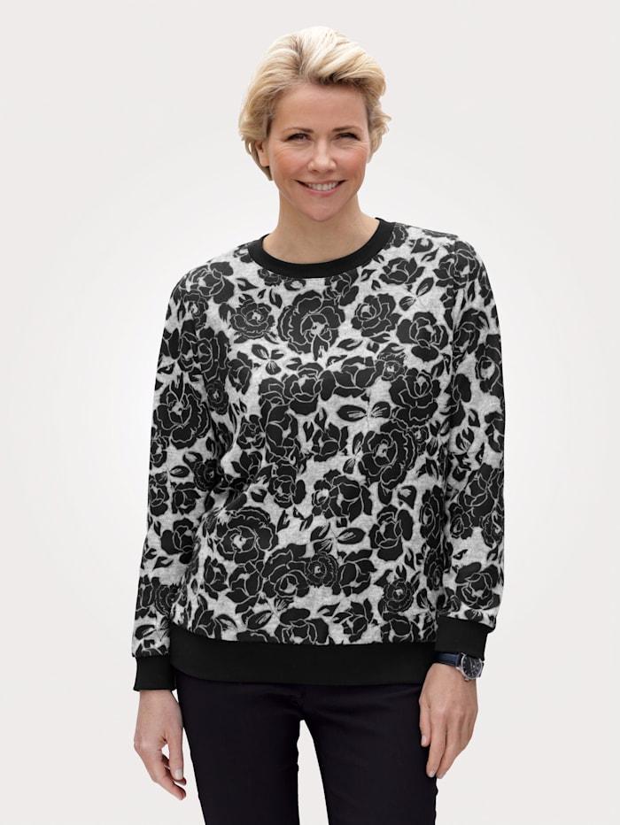 MONA Sweatshirt mit floralem Druckmuster, Schwarz/Grau