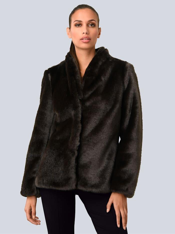 Alba Moda Jacke in kuschelweicher Fake Fur Qualität, Schokobraun