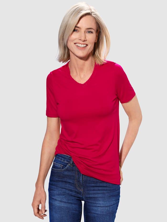 Paola Shirt Mit Rosenspitze im Ausschnitt, Rot