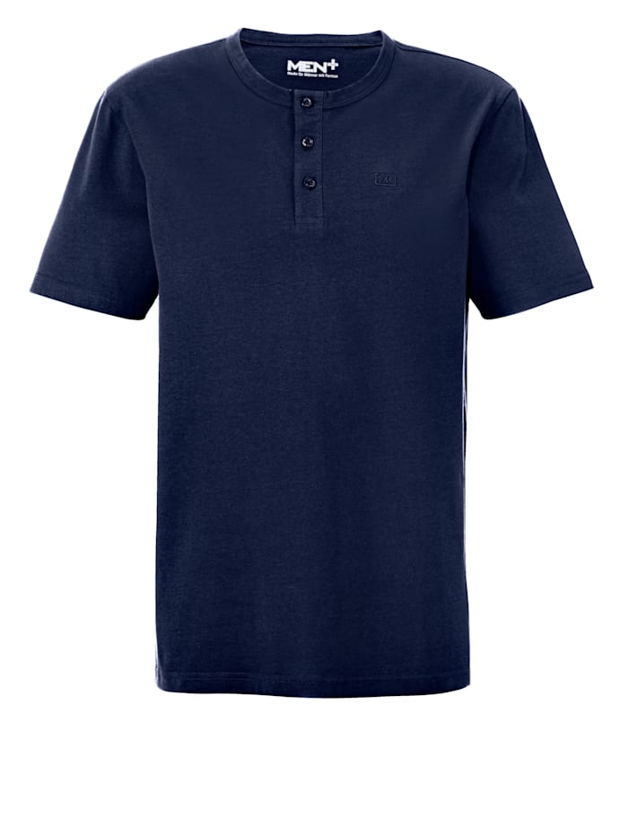 Men Plus Henleyshirt, Marineblau
