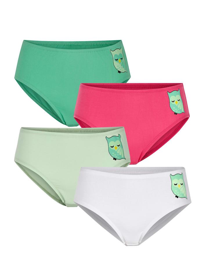 Harmony Taillenslips im 4er-Pack mit Eulen-Motiv, Weiß/Pink/Hellgrün/Grün