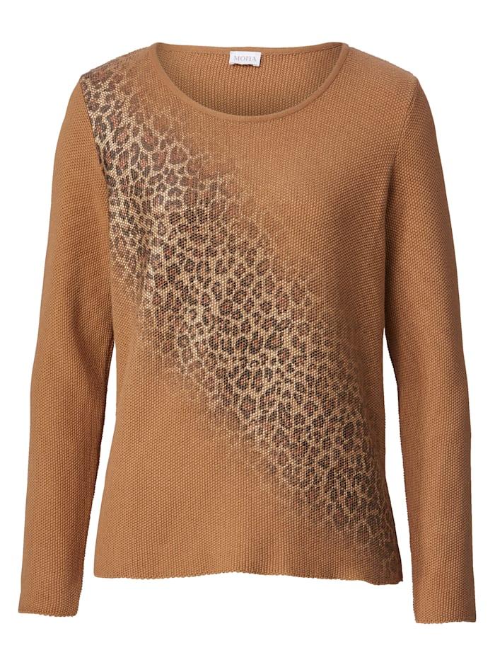 Leopardikuosipainettu neulepusero