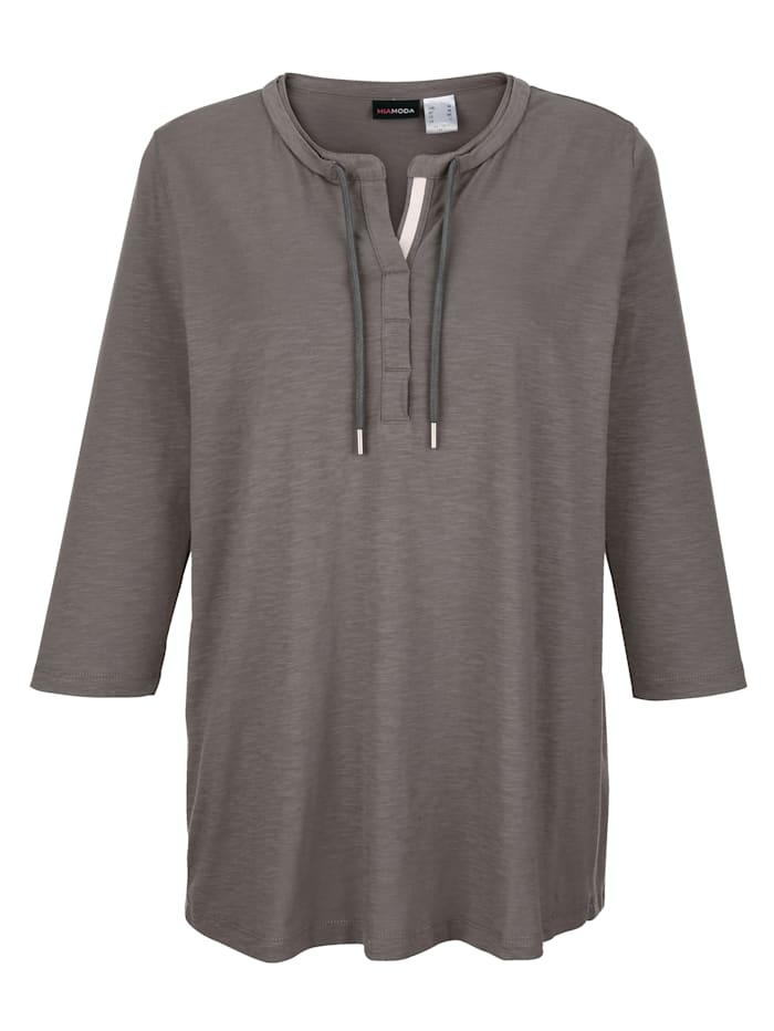 MIAMODA Shirt aus reiner Baumwolle, Grau