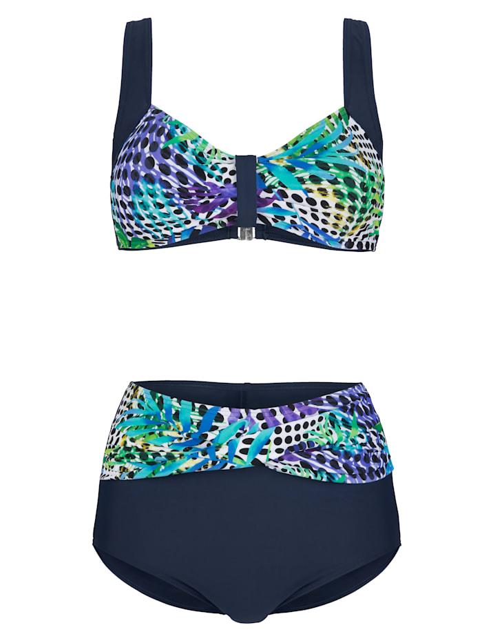Maritim Bikini in elegant wikkelmodel, Marine/Paars/Turquoise