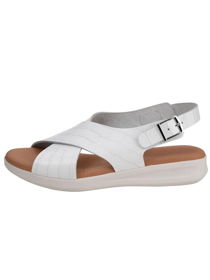 Platform sandals in a chic croc-effect finish