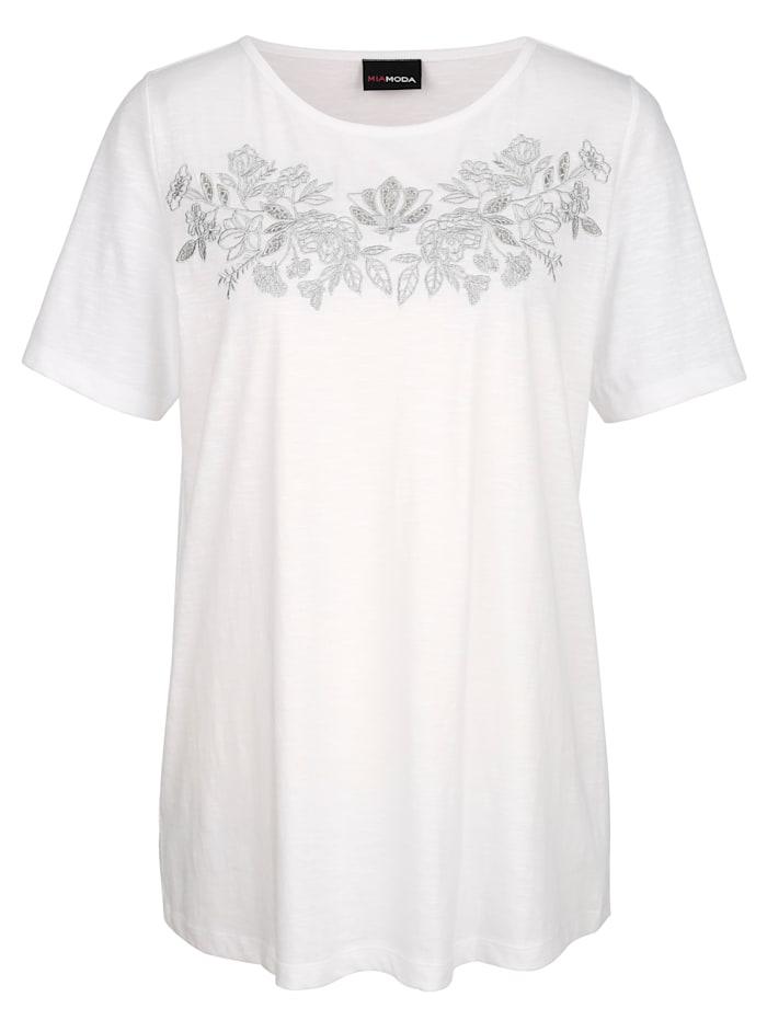 Shirt met zilverkleurig borduursel voor