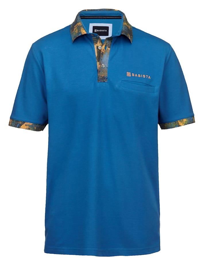 BABISTA Polo tričko s kontrastnou potlačou, Modrá