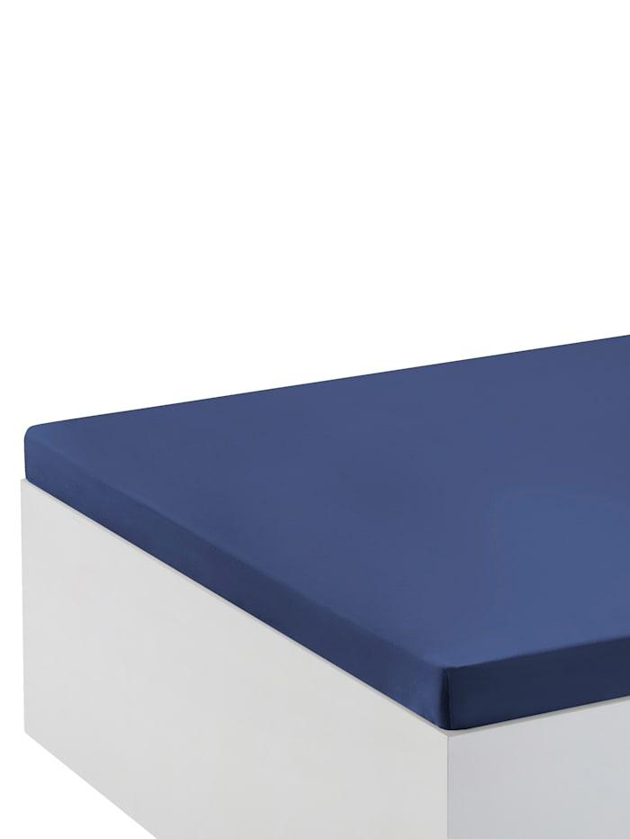 Biberna Jersey Elastic Spannbettlaken für Topper, Blau