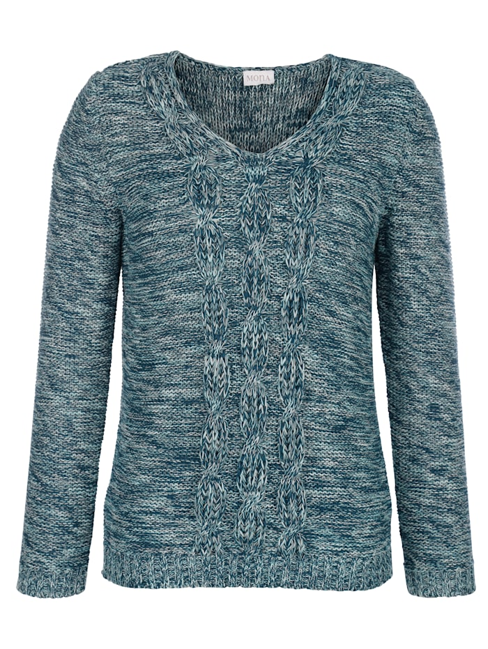 Pullover mit Zopf-Strukturstrick