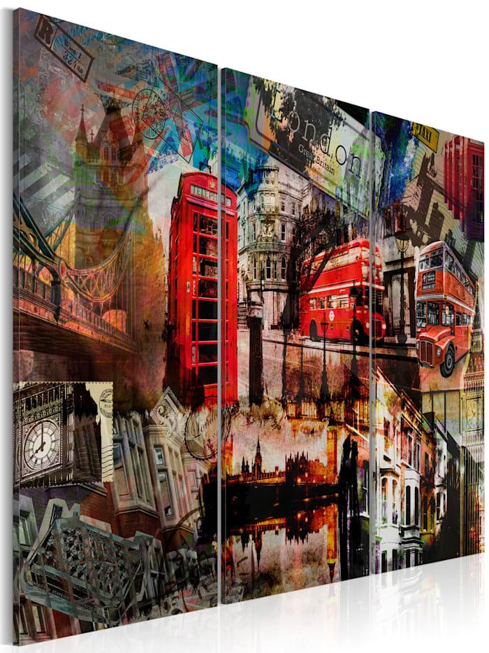 artgeist Wandbild Londoner Collage - Triptychon, mehrfarbig