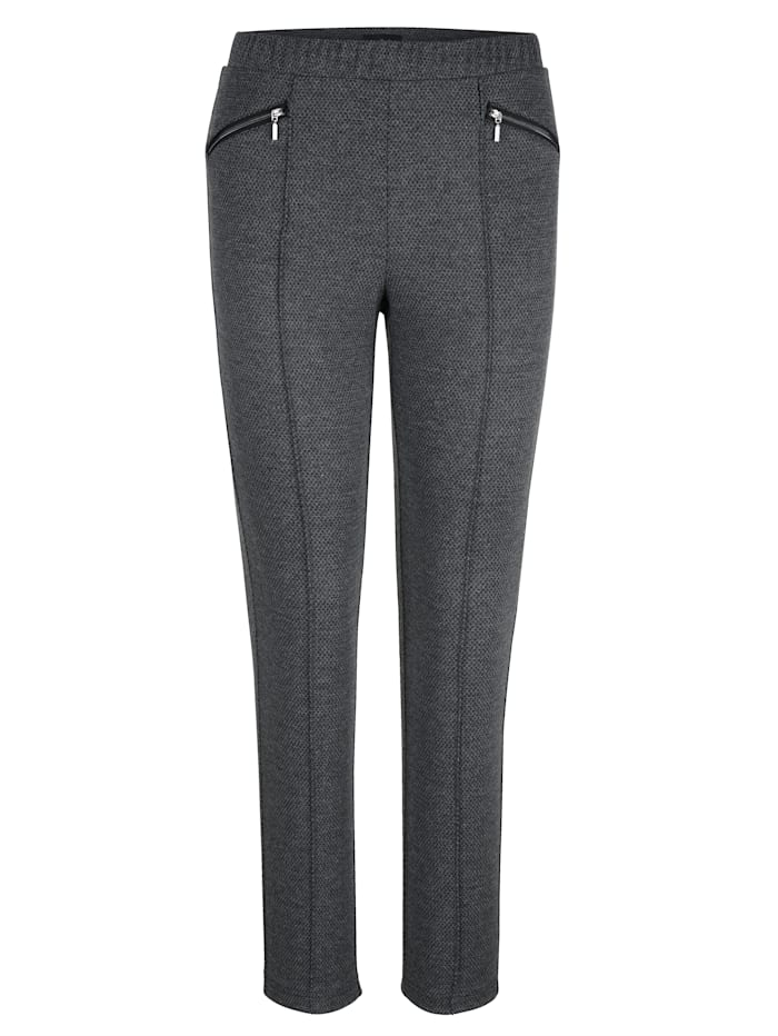 m. collection Jersey broek met minimalprint, Antraciet/Zwart