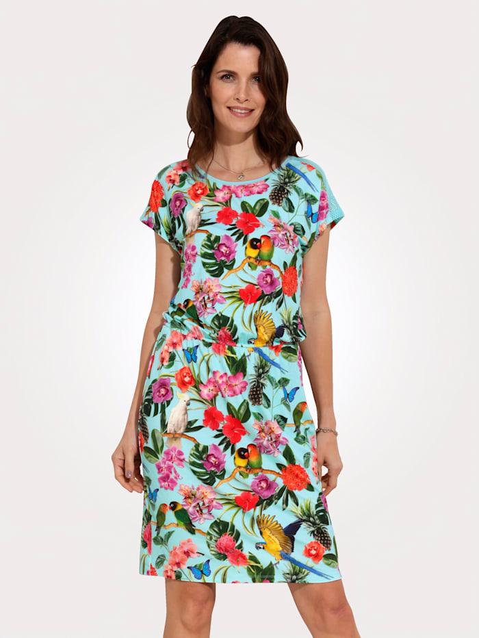 MONA Jersey jurk met inzetten van netmateriaal, Turquoise/Multicolor