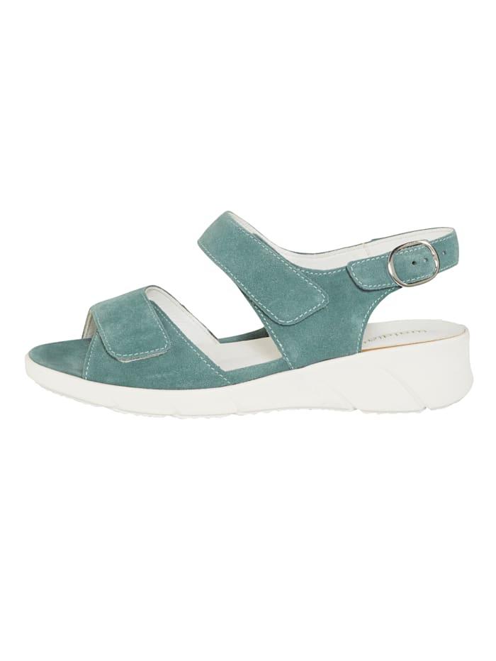 Sandaler med hälspänne med dold tryckknapp
