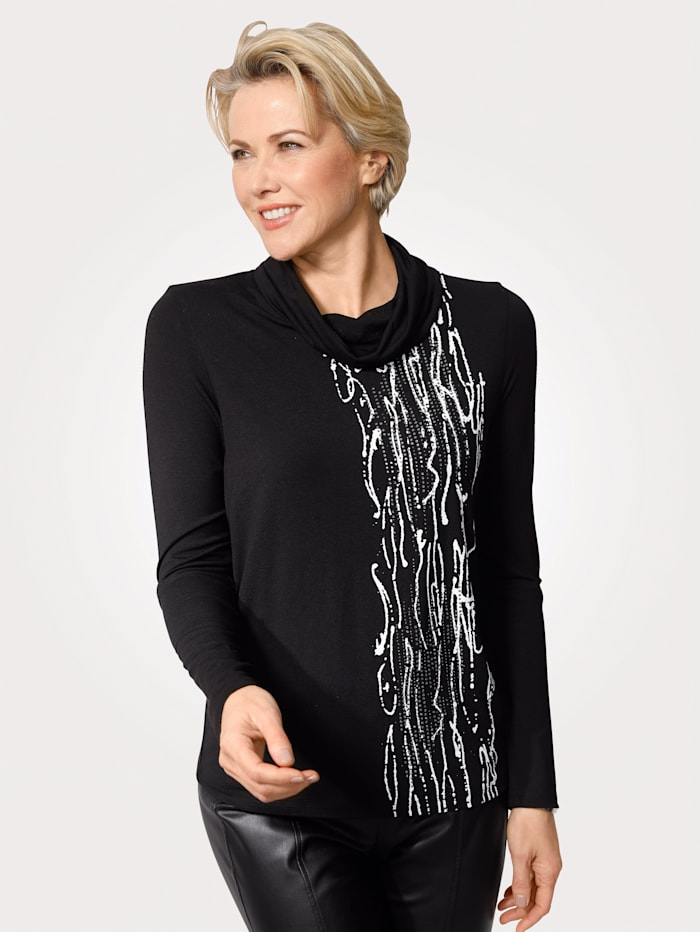 MONA T-shirt à petit col roulé, Noir/Blanc