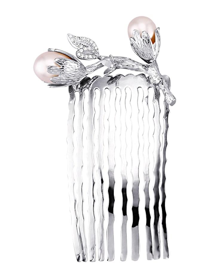 Haarkamm mit Süßwasser-Zuchtperlen, Weiß