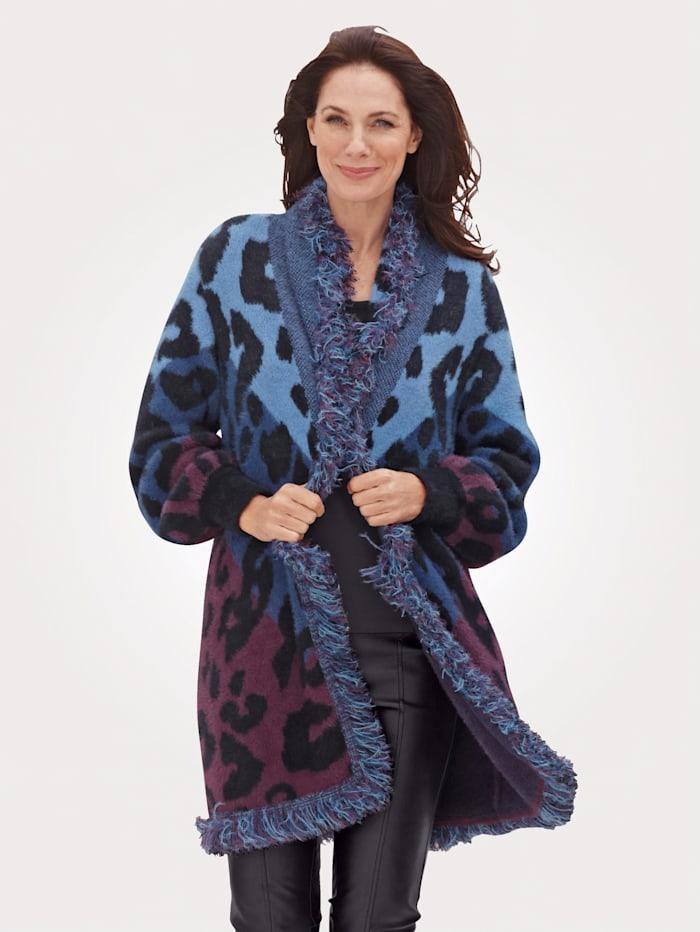MONA Cardigan in a cosy design, Blue/Black/Berry