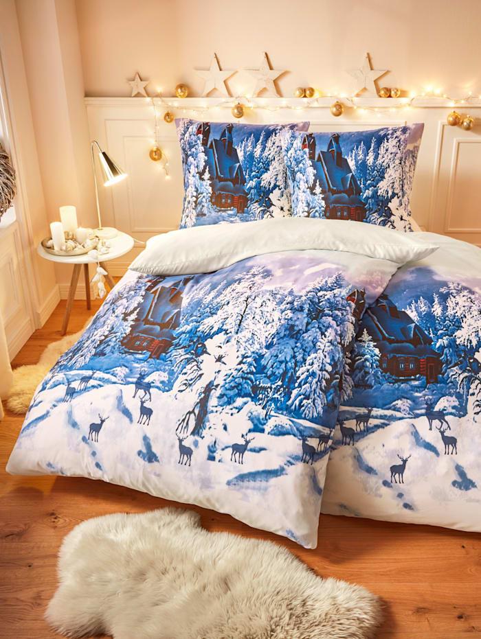 Casamaxx 4-dielna posteľná bielizeň Zima, modrá
