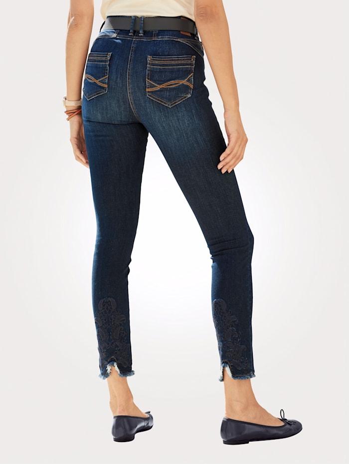 MONA Jeans met modieuze franjes, Donkerblauw