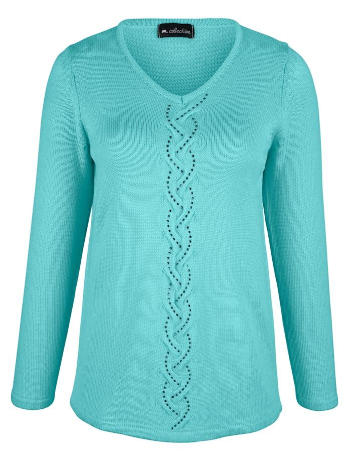 Pullover mit streckendem Zopfstrickmuster im Vorderteil