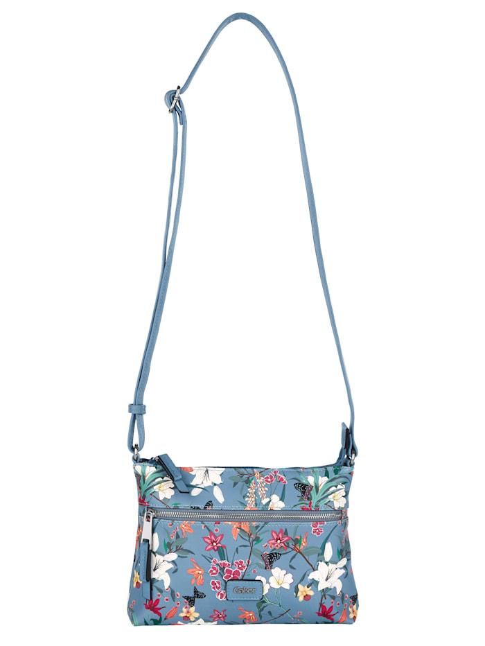 Gabor Shoulder bag with a gorgeous floral print, Jeans blue