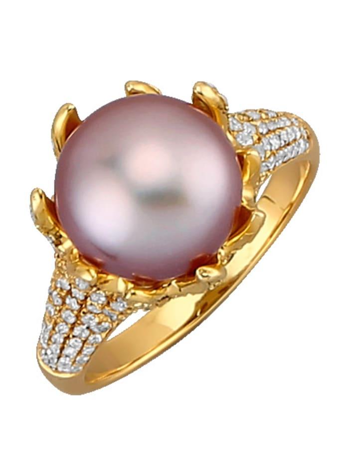 Diemer Perle Damenring mit Süßwasserzuchtperle, Rosé