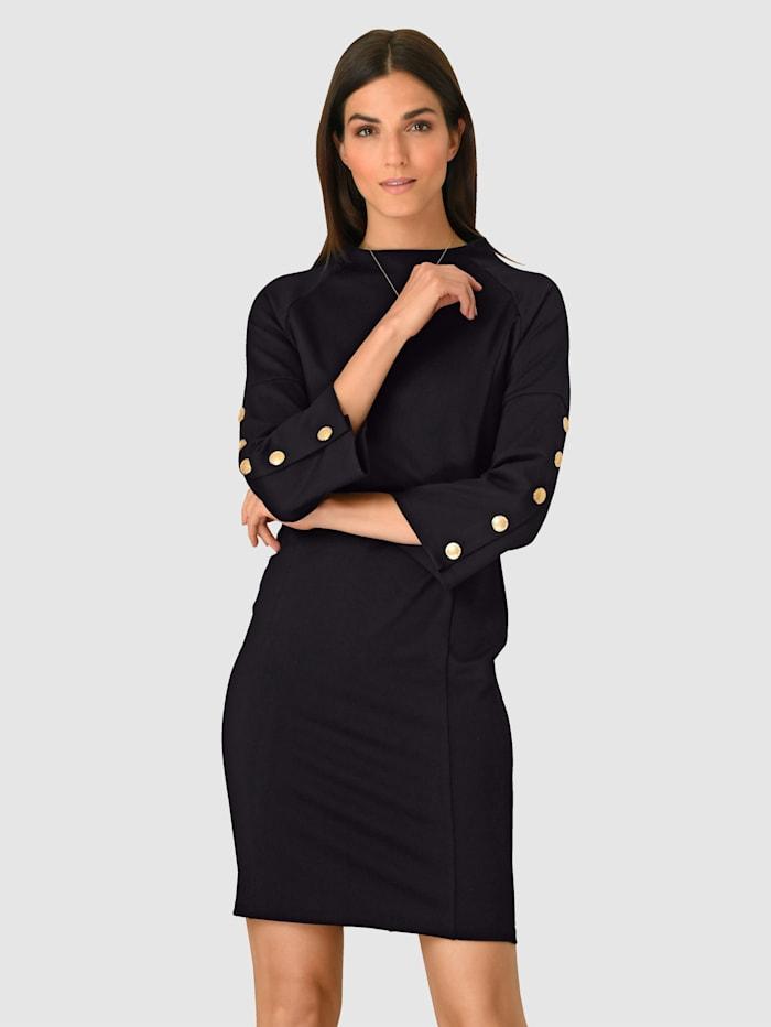 Alba Moda Kleid mit dekorativen Knöpfen seitlich am Ärmel, Marineblau