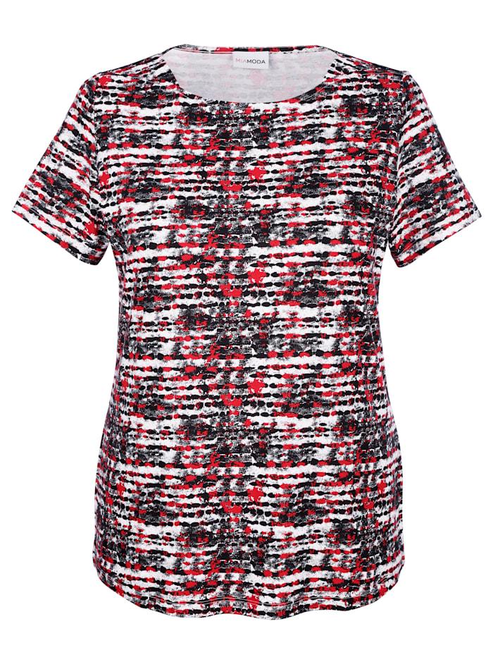 MIAMODA Shirt met vrouwelijke halslijn, Zwart