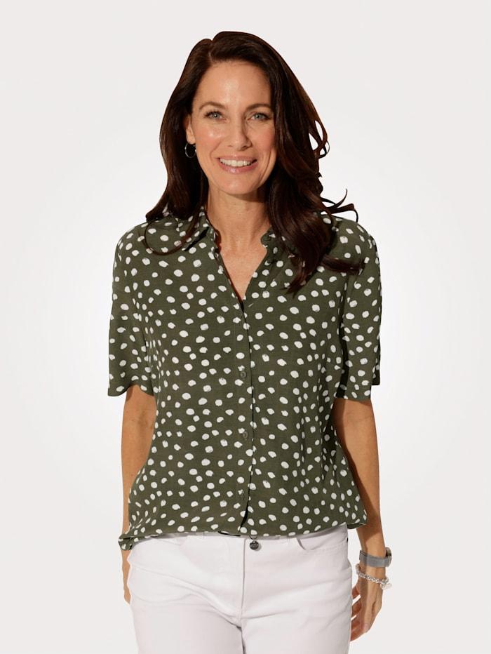 MONA Bluse mit durchgängiger Knopfleiste, Oliv/Weiß