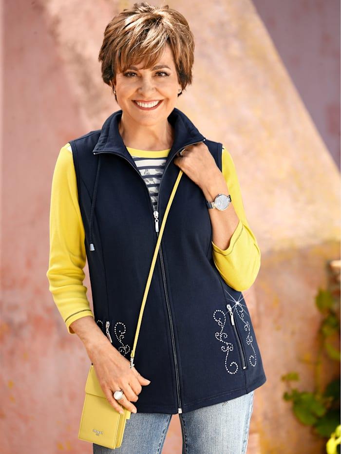 Paola Sweatshirtväst med strassdetaljer, Marinblå