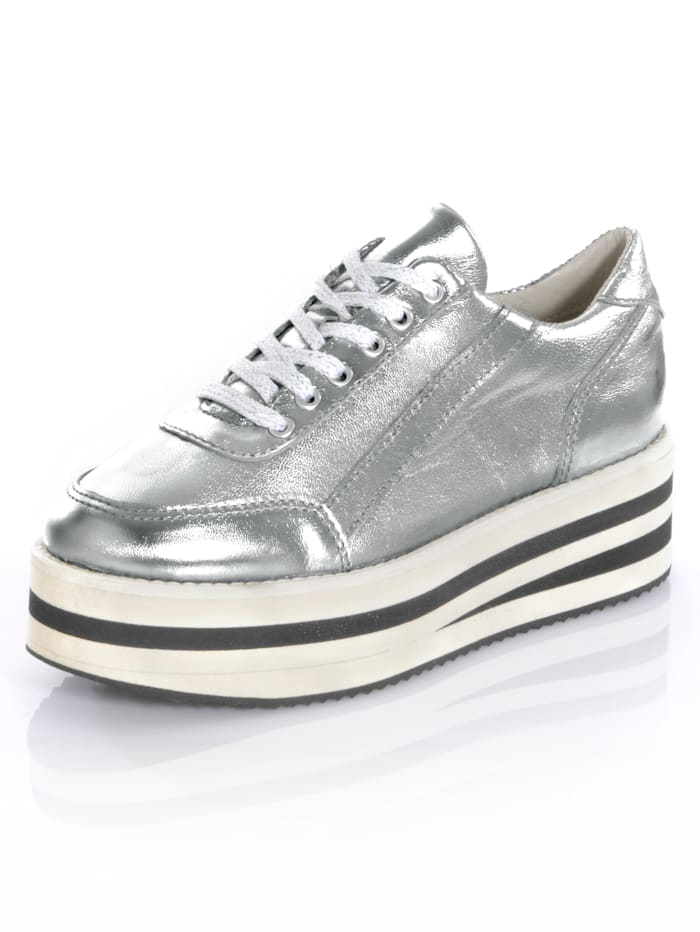 Alba Moda Trainers with fashionable high platform sole, Silver-Coloured