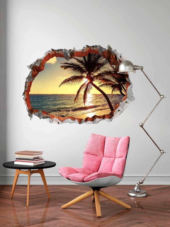 3D Wandtattoo Strand, mehrfarbig