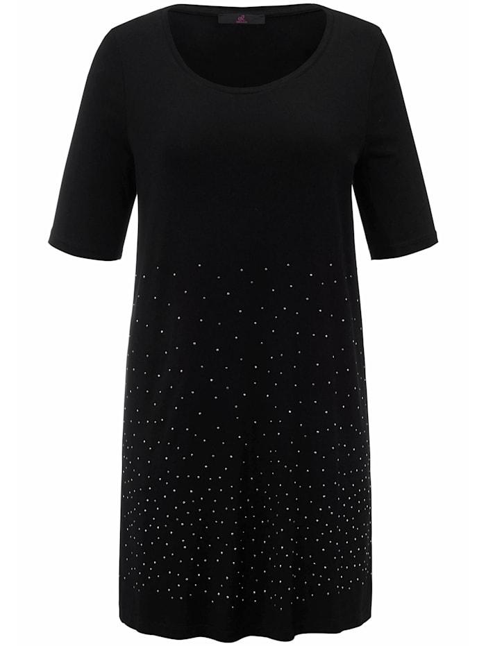 Emilia Lay Shirt Longshirt mit Rundhals-Ausschnitt ., schwarz