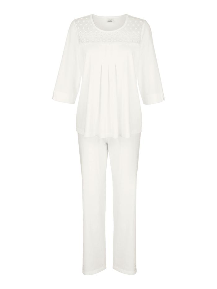 "MONA Pyjama en coton issu de l'initiative ""Cotton made in Africa"", Écru"