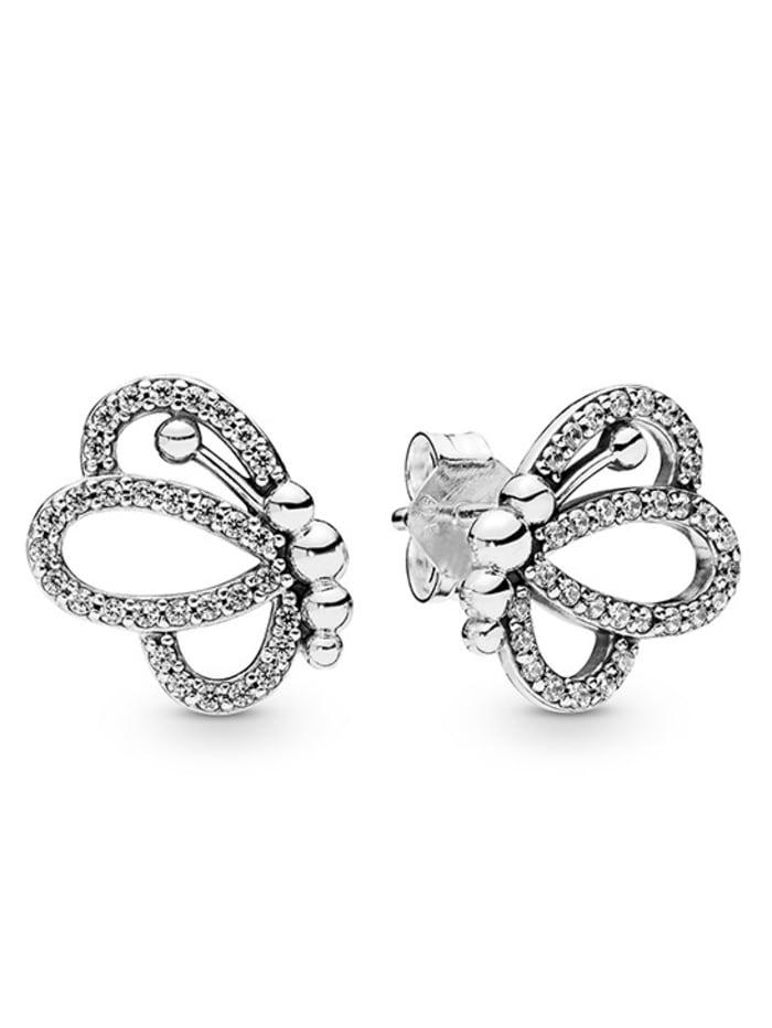 Pandora Ohrstecker -Schmetterlinge-, Silberfarben